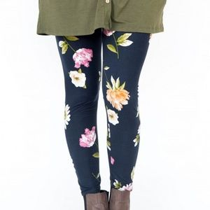 Navy Spaced Floral Leggings Agnes & Dora